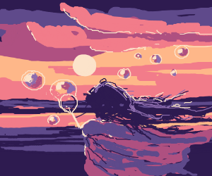 Girl Making Bubbles at Sunset