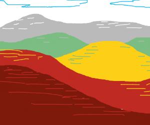 Multi colored hills