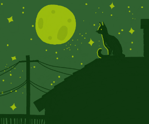 a cat on top of a roof at night (Full moon)