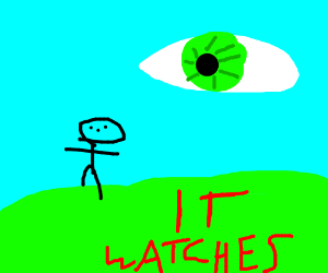 green eyeball in the sky