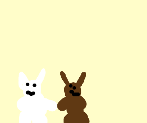 2 Bunnies holding hands - white & brown