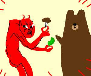 fiery headed devil buys pink shroom from bear