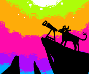 Bull looks into telescope