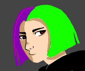 Girl with dyed purple and green hair