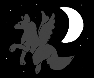 Winged Wolf w/ moon