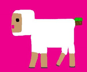sheep with minecraft grass block as tail
