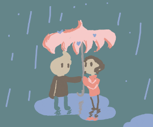 Boy & grl standing in rain. Boy gives grl umbr