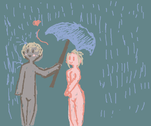 grey guy sharing his umbrella with a pink girl