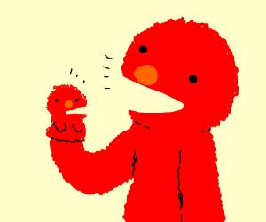 Elmo's favorite sock puppet is of himself