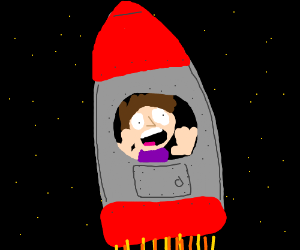 A man fearing for his life from a rocket ship