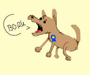 dog that has won something is borking