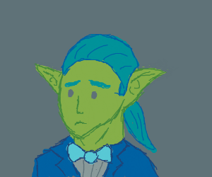 Worried elf person with a bowtie