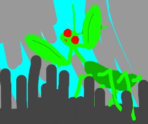 Giant mantis destroys a city