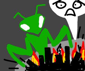 gigantic mantis brings devastation to city