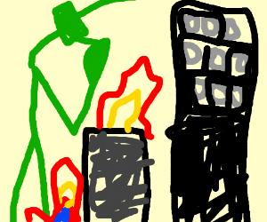 giant praying mantis destroys a city