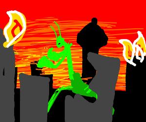 Giant Mantis Terrorizes City!