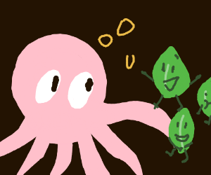 Octopus listening to leaves