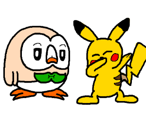 Pikachu dabs and Rowlet is dissapointed