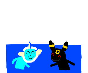 Vaporeon and Umbreon at the pool