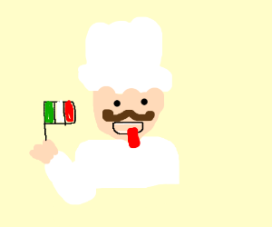 stereotypical italian chef waving a flag
