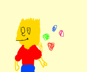 Bart Simpson with the chaos emeralds