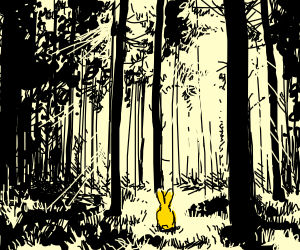 A yellow bunny lost in monochrome forest