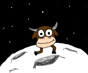 Cow head walking on the moon