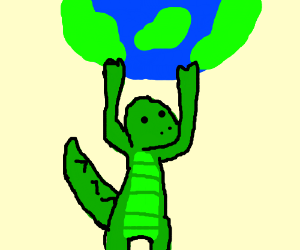 itz a dino holding the earth