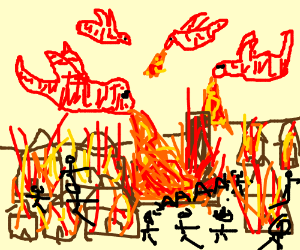 dragons attacking a village