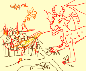 Dragons attacking houses with fire