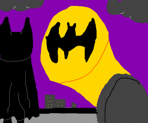 batman with bat signal
