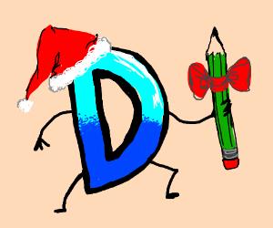 Drawception D with santa hat