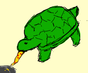 Turtle steels pizza slice