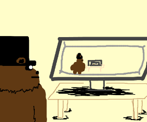 bear with tophat watches odd youtube video
