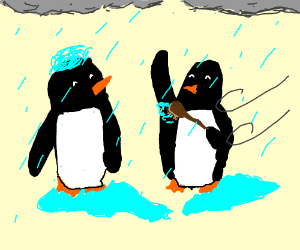 pengins bathing in a storm