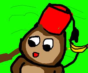 monkey #3 in a red fez hat