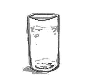 A glass of something that might be water