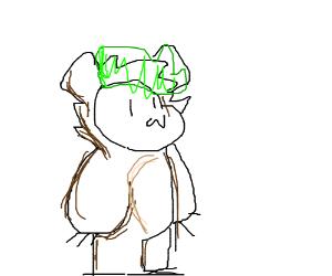 a little girl bear with green hair