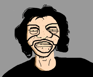 relatively normal looking dude with weird face drawing by hanna