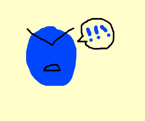 Angry blue man