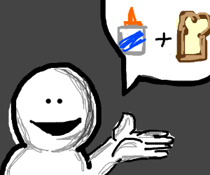 Guy talking about glue bread