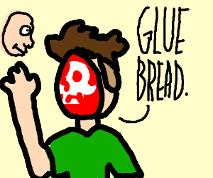 Man reaching for face while saying GLUE BREAD