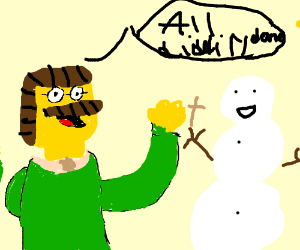 Ned Flanders builds a snowman