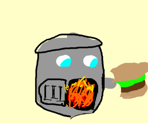 a furnace eating a burger with is furnace