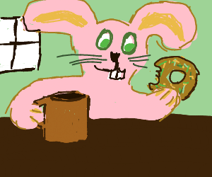 cute pink bunbun eating a donut and a coffee