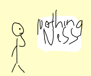 A guy looking at a white paintingofnothingness