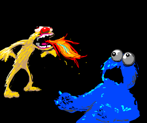 Fire Breathing Yellmo Startles Cookie Monster