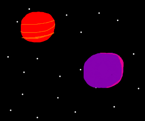 a red a purple planet