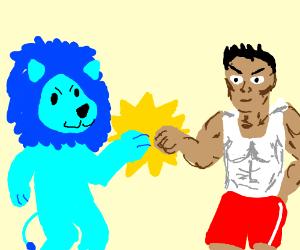 Blue-maned lion-man fistbumps workout guy