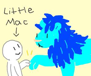 Blue lion fist bumps little mac